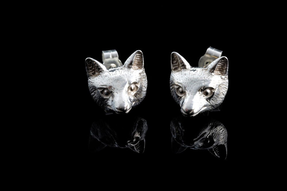 Summer fox head earrings