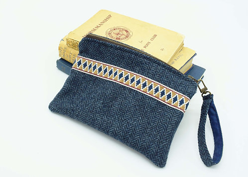 The Terling Clutch - Navy Tweed