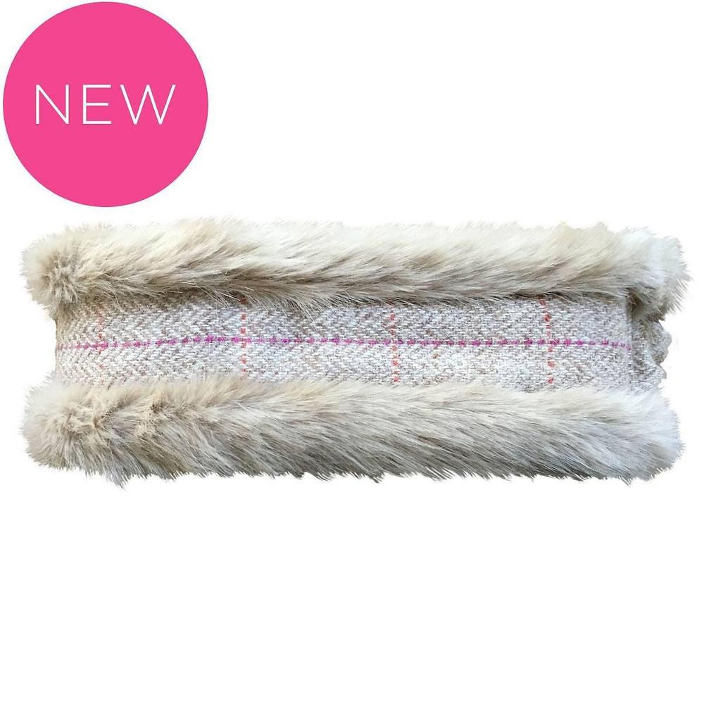 Tweed & faux fur headband