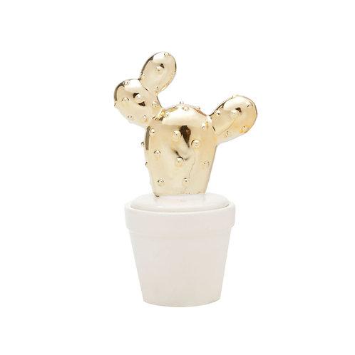 Potiche cerâmica cactus ouro