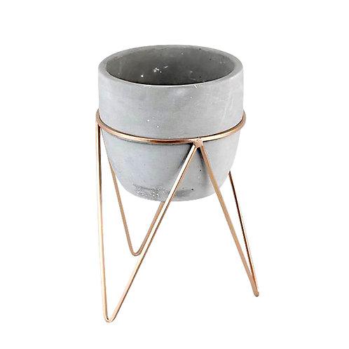 Cachepot concreto e cobre