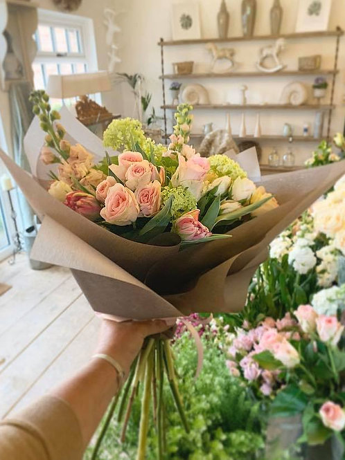 Pastel pink hand tied