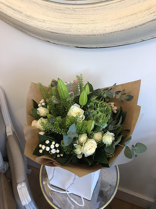 Cream and green hand tied in water