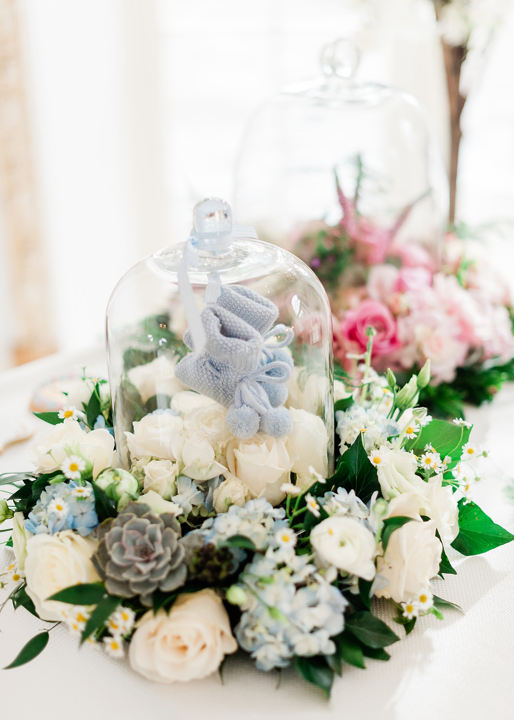 Baby shower decor for baby boy, flowers for baby boy