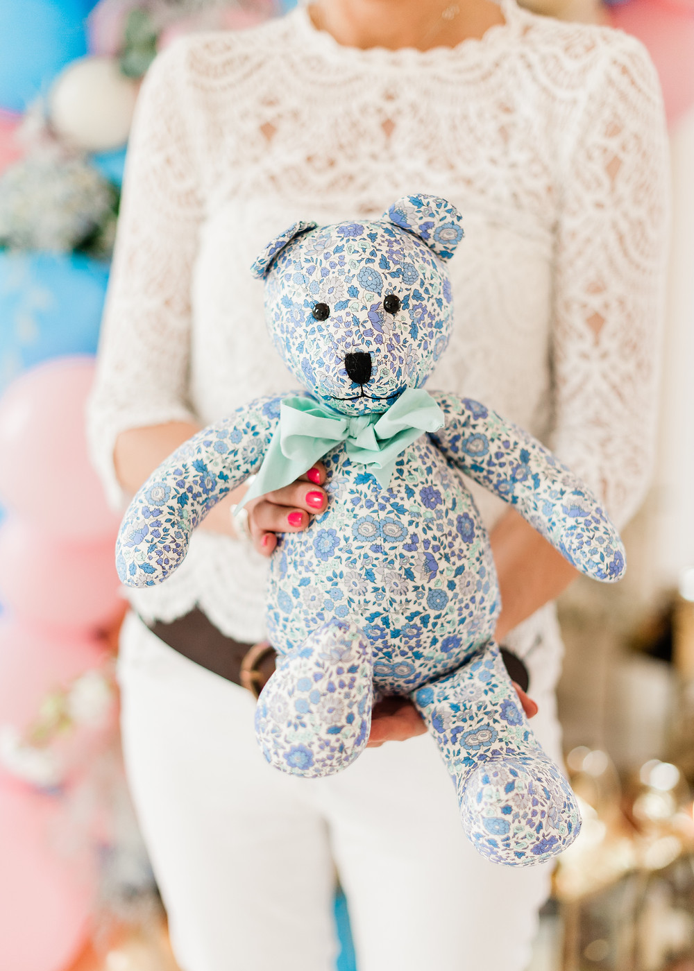 Blue vintage material teddy bear
