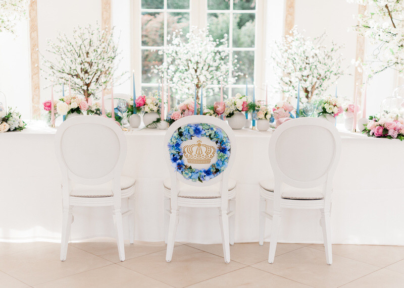 Floral chair with bespoke monogram