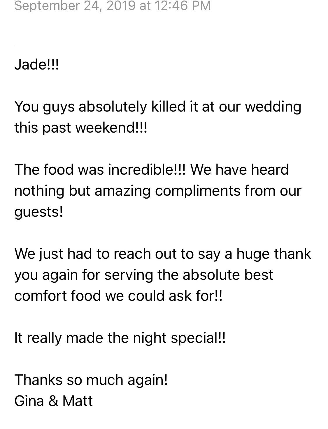 Wedding Catering - 2019