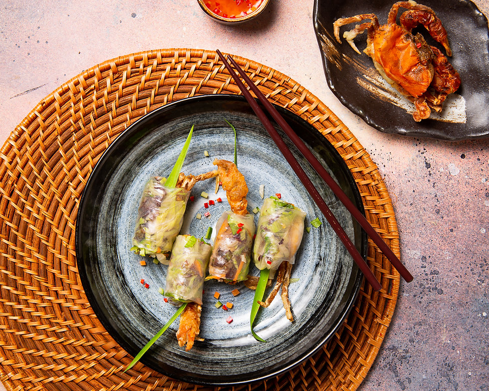 Deep-fried soft shell crab summer rolls.