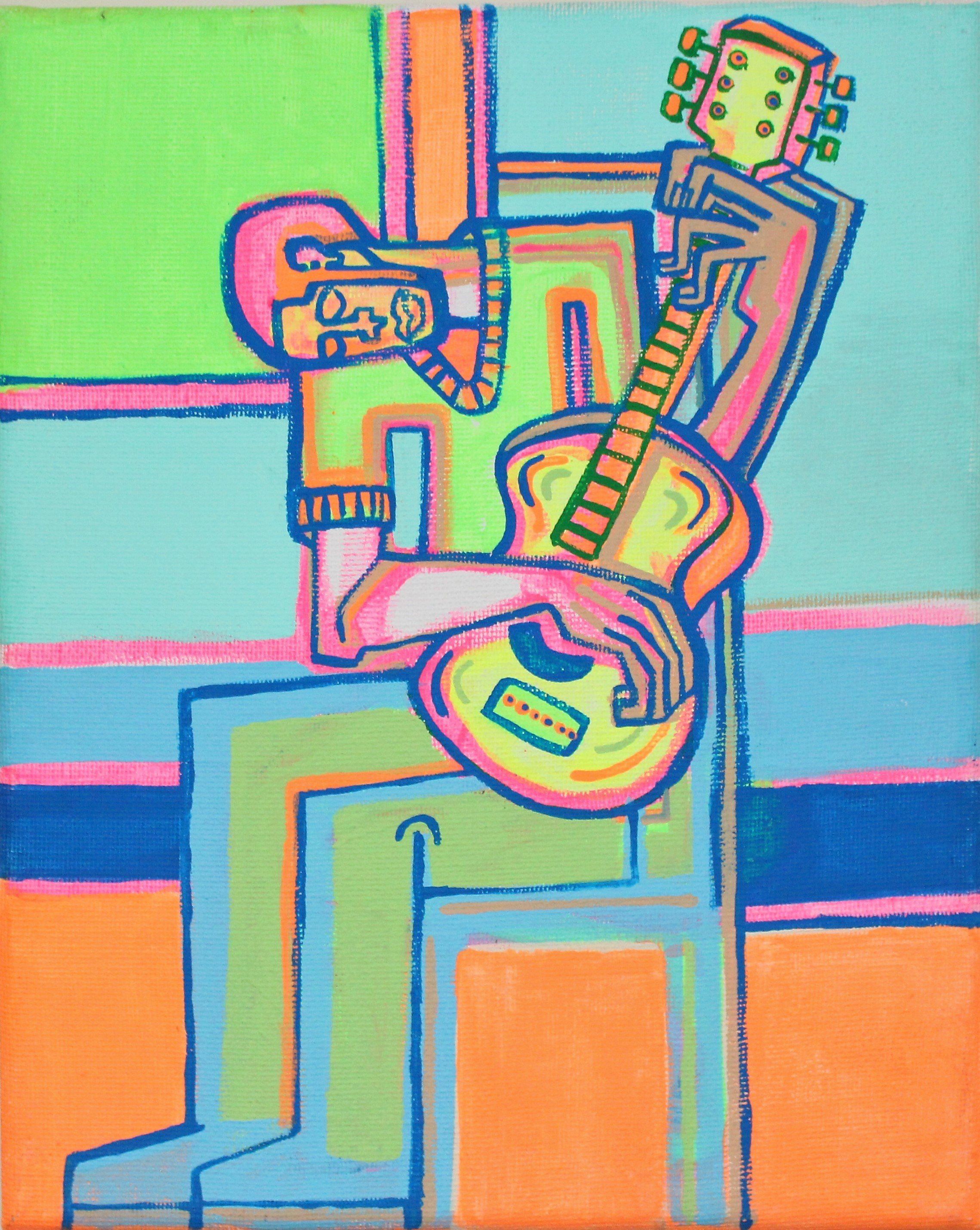 Yellow Guitar by Acrylic on Canvas 2016