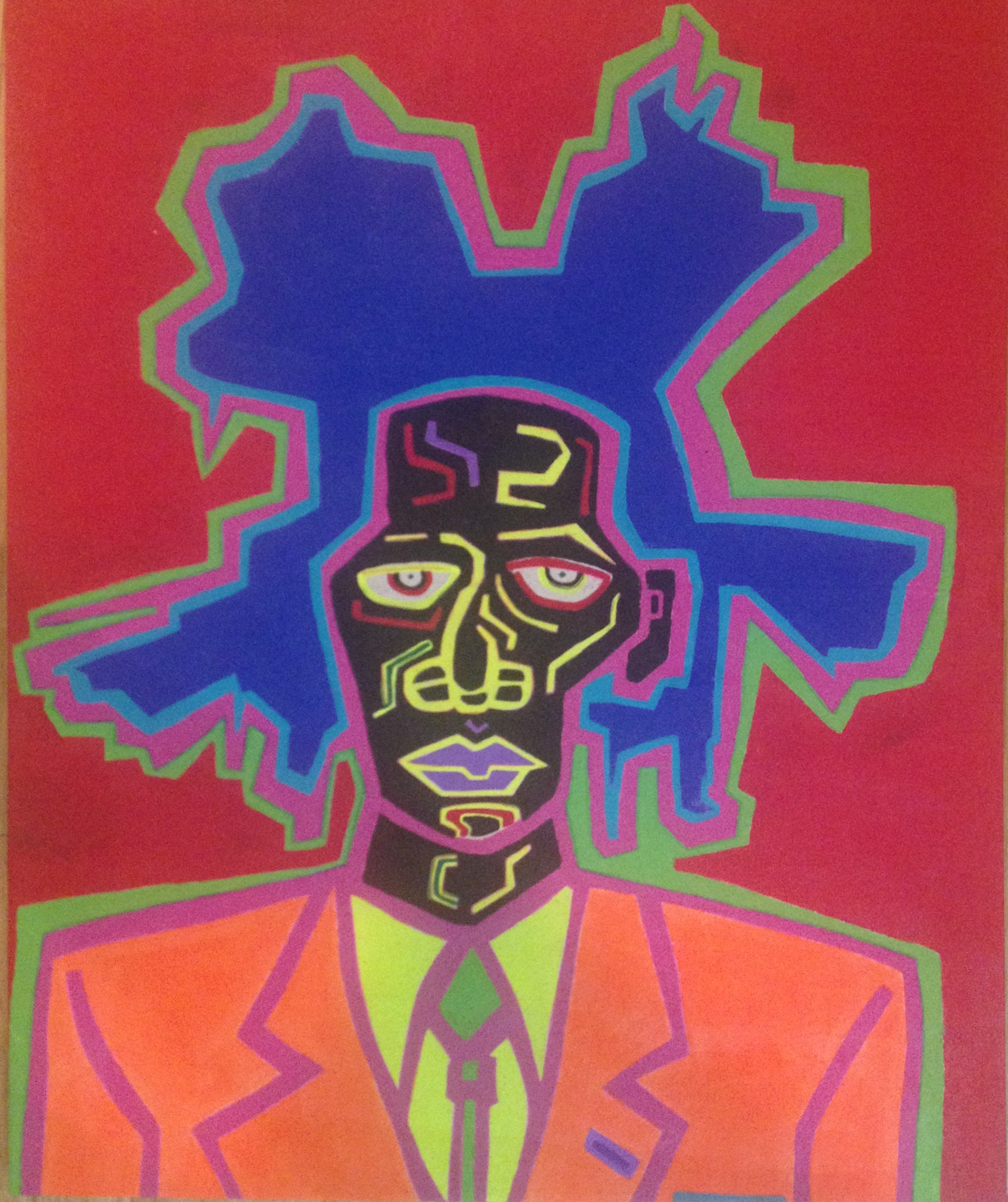 Basquiat by James  Terrell 32inx26in Acylic on canvas