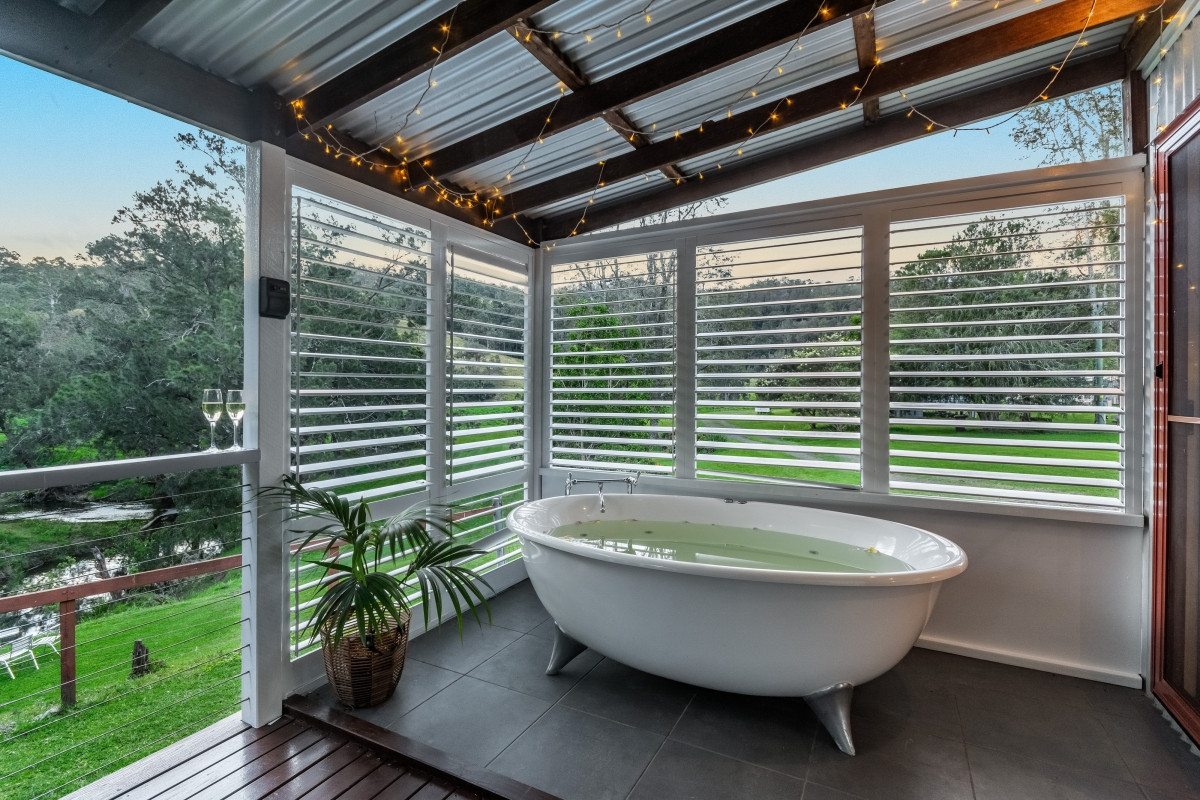 Spa Bath with Creek Views