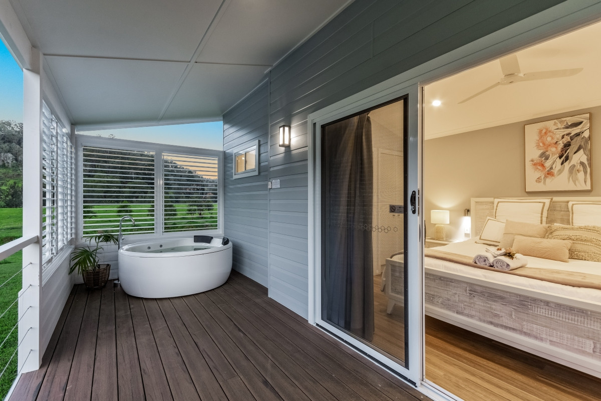 Bedroom opens to deck