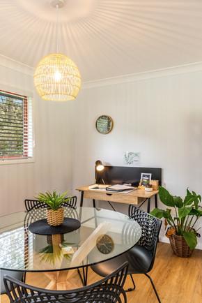 Dining and desk area, 'Silky Oak'