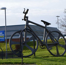 The famous Bankie Bike sculpture sitting on the bank of the Forth & Clyde Canal. - 26th January 2013