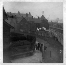Photo looking out of my sister's flat in Bon Accord Street with the Riverside line to the right of the photo. - Photograph supplied by Mary Tierney. Date unknown.