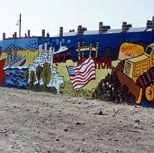Detail from the painted wall, a pictorial history of Clydbank - Glasgow Road, Clydebank 18th June 1978