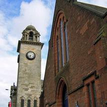 Town Hall clock & Morrison Memorial Church. - 15th June 2009