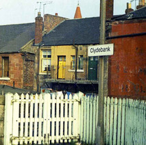 On the platform of Clydebank train station looking at the back of the houses on Chalmers Street. - 24th September 1977