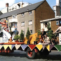 The Clydebank Scouts float in Second Avenue. Clydebank Centenary Celebrations 1986 - photo by Wallace McIntyre