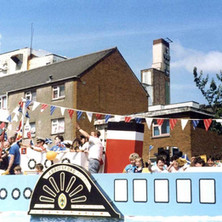 The Abbotsford Church float in Second Avenue, with the La Scala Cinema in the background. Clydebank Centenary Celebrations 1986 - photo by Wallace McIntyre