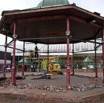 This side of the Shopping Centre is being renovated so the bandstand is getting relocated. - Clydebank. 19th March 2010