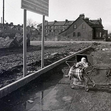 My daughter Jennifer checking out the new Clydeside Expressway. I used to take her out in the pram on my walkabouts around Clydebank. (It never became an Expressway) - Saturday 3rd March 1979 Glasgow Road