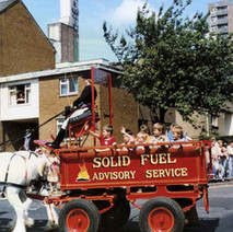 The Solid Fuel Advisory Service horses and cart turning into Second Avenue. Clydebank Centenary Celebrations 1986 - photo by Wallace McIntyre