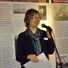 Jo Sherington from Clydebank Library making a speech at the launch of the 'Blitz Remembered' Exhibition. - 11th March 2016