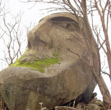 Ian Barr went over and took this photo of the 'Stone' Head. It is cement rendered onto a steel frame covered with wire mesh. Ian's friend, Gregor Addison, suggested it was from the Glasgow garden festival of 1988. - The Stone Head at Renfrew. 2011