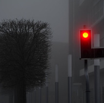 I walked down to Clydebank College, It was getting darker, and more misty. - 6th February 2012