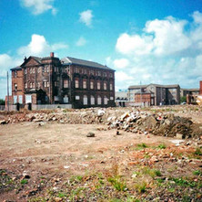 Looking towards Elgin Street School over the site of the demolished UCBS biscuit factory. Clydebank 1987. - Photos taken by Sarah from California, USA