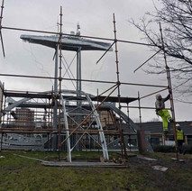 The scaffolding coming down to reveal the impressive HMS Ramillies sculpture.  -  Dalmuir 26th February 2010