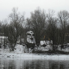 Hugh Beattie took this photo of the Stone Head on the banks of the Clyde on the Renfrew side just up from the Yoker Ferry. - River Clyde, from Yoker looking over to Renfrew. 2011