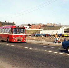Whitecrook bus going down Glasgow Road. This used to be our main shopping Street before the redevelopment. - March 1981
