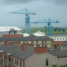 Looking towards the Shipyard from the top of the Clydebank Co-operative Store.  -  10th June 2001
