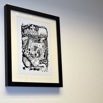 Open Art Exhibition Launch Night in Awestruck Art Gallery, Kilbowie Road. This is a print of one of my drawings called 'Profit & Loss' - 3rd February 2017
