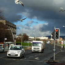 Stormy Sky over Kilbowie Road. Council Building on the left, the old La Scala Cinema up on the hill. - 4th February 2014