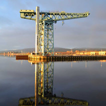 The Titan Crane reflecting on the River Clyde.  -  3rd January 2021