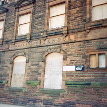 Elgin Street School, all boarded up. Clydebank 1987. - Photos taken by Sarah from California, USA