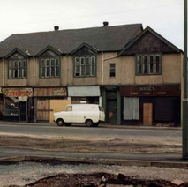 The Parochial Hall and shops on Glasgow Road. - Photo by Tommy Quinn.