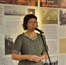 Sue Reid Sexton, the facilitator of the Blitz Remembered project makes a speech at the Exhibition launch. - 11th March 2016