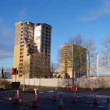 The high flats at Clydebank East getting demolished. These flats are beside Yoker Train Station.  -  9th January 2020
