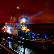 Dredger moored for the night beside College - 7th February 2018