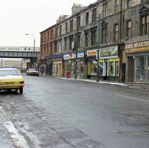 Looking up Kilbowie Road. That's my car sitting there. - December 1981