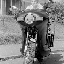 My nephew, Paul on his neighbour's bike. Faifley, Clydebank, 9th July 1978