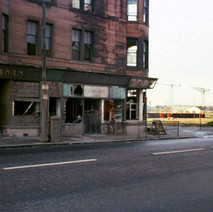 Shops on Glasgow Road very close to demolition. Glasgow Road 1978