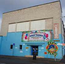 Monkey Madness Soft Play on the corner of John Knox Street. This building is all that remains of the UCBS factory that once dominated both sides of North Elgin Street.  -  9th January 2020