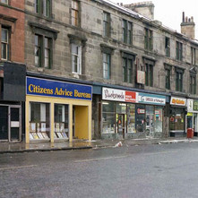 Looking down Kilbowie Road shops towards Glasgow Road/Dumbarton Road. - December 1981