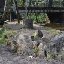 The stone boat in the Duntocher Burn that runs through the Dalmuir Park - 16th April 2012