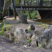 The stone boat in the Duntocher Burn that runs through the Dalmuir Park - 16th April 2012